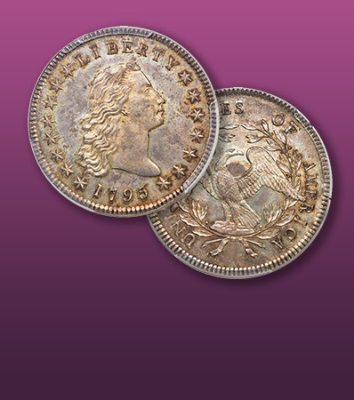 1795 $1 Flowing Hair, Three Leaves, Silver Plug, B-7, BB-18, R.3, MS65+ PCGS. CAC
