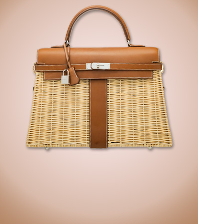 Hermes Limited Edition 35cm Fauve Barenia Leather & Osier Wicker Picnic Kelly Bag with Palladium Hardware