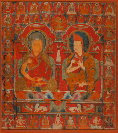 A Tibetan Thangka Depicting Two Abbots