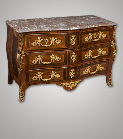 A French Régence Parquetry-Inlaid and Bronze-Mounted Commode with Marble Top