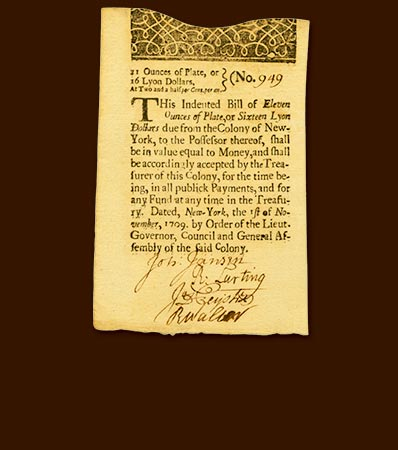 Colony of New York November 1, 1709 Lyon Dollars Issue 16 Lyon Dollars or 11 Ounces of Plate Fr. NY-11.