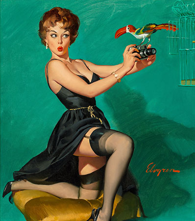 Gil Elvgren (American, 1914-1980) - Ruffled Feathers, 1967