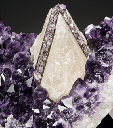 Quartz var. Amethyst with Epitaxial Amethyst & Goethite on Calcite 'Skunk'