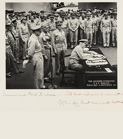 Iconic Original Photograph of the Surrender Signing Aboard the U.S.S. Missouri, Twice-Signed by Admiral Chester Nimitz