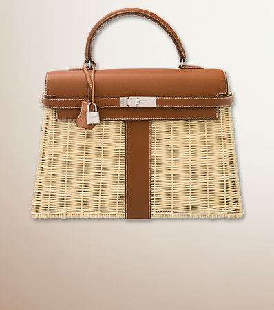 Hermes Limited Edition 35cm Barenia Leather & Osier Wicker Picnic Kelly Bag with Palladium Hardware