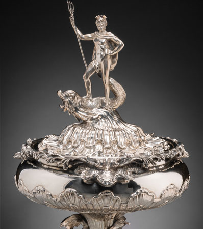 A Large R & S Garrard & Co. Victorian Silver Nautical Figural Trophy