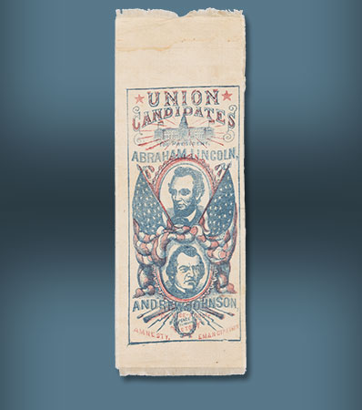 Lincoln & Johnson: An Enormously Important 1864 Jugate Silk Campaign Ribbon