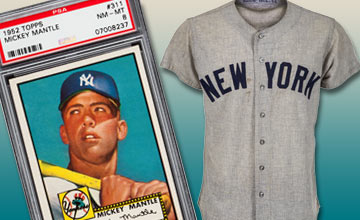 Image of Mickey Mantle and His Game Worn New York Yankees Jersey