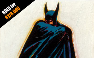 Close-up Image of Mel Ramos Batman Painting