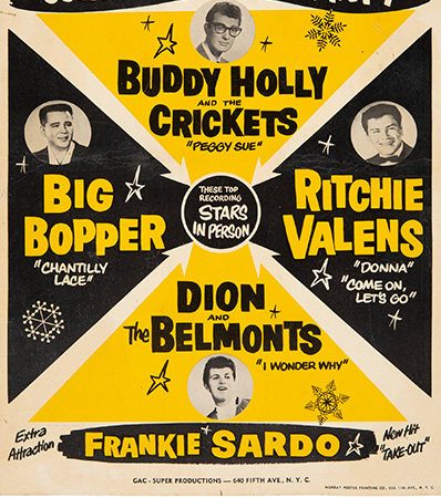 Buddy Holly & The Crickets Stunningly Rare 1959 Winter Dance Party Concert Poster