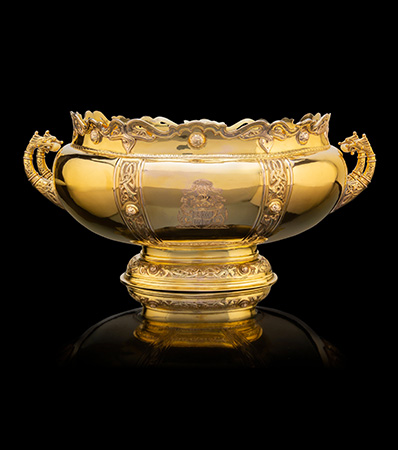 A Rattray & Co. 9K Gold Center Bowl Presented to the Earl & Countess of Strathmore