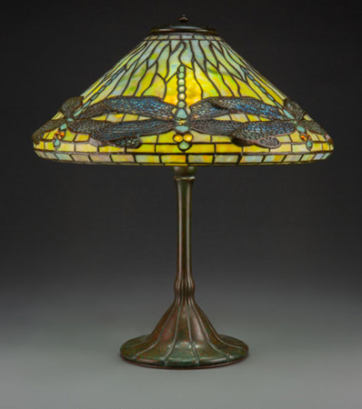 Tiffany Studios Leaded Glass and Patinated Bronze Dragonfly Table Lamp, circa 1910