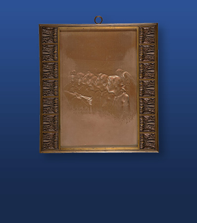Rare Early R. Lalique Molded Glass Chour des Anges Panel in Original Bronze Frame, circa 1905