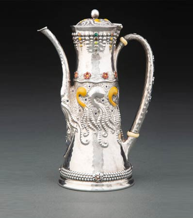 A Tiffany & Co. Enameled Silver Coffee Pot Attributed to Charles Osborne, New York, 1881