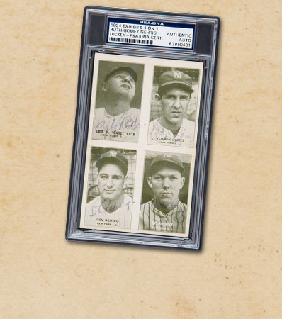 1934 Exhibits 4 on 1 Babe Ruth, Lefty Gomez, Lou Gehrig & Bill Dickey Signed Trading Card