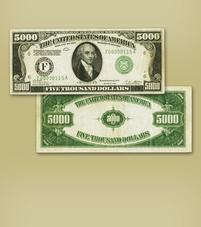 Original 1928 Atlanta District $5,000 Green Seal | Fr. 2220-F $5,000 1928 Federal Reserve Note