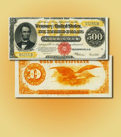 Fr. 1217 $500 1922 Gold Certificate PCGS About New 53