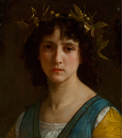 William Adolphe Bouguereau (French, 1825-1905) Tête d'Italienne avec une couronne de laurier (Head of an Italian girl with a laurel wreath), 1872