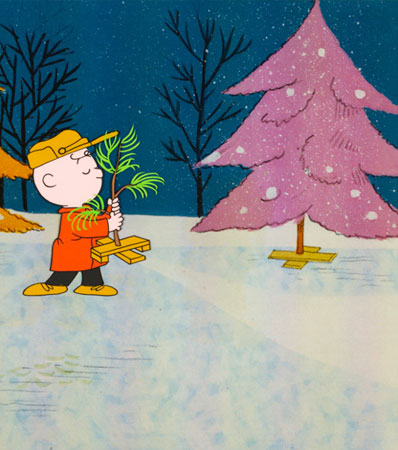 A Charlie Brown Christmas Charlie Brown and Christmas Tree Production Cel (Bill Melendez, 1965)