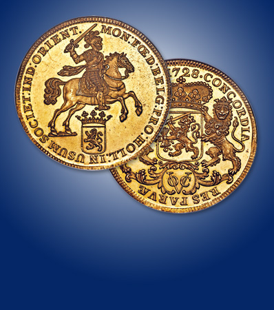 Netherlands East Indies: Dutch Colony. United East India Company (VOC) gold Proof Pattern Ducaton (Rider) 1728 PR64 NG