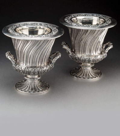 A Pair of Robert Hennell II Silver Wine Coolers