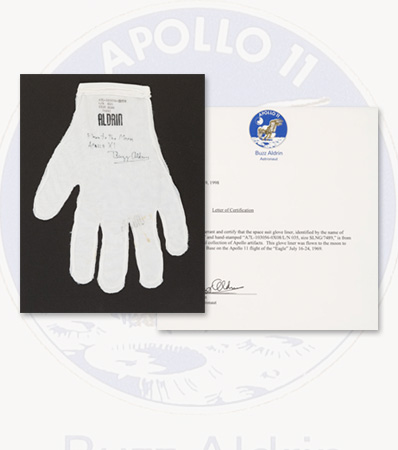 Apollo 11 Lunar Module Flown Spacesuit Comfort Glove Signed and Certified with Signed Letter of Certification, in Framed Display