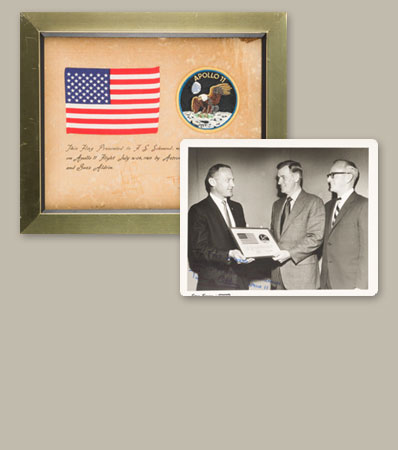 Apollo 11 Flown American Flag on Presentation Signed by Armstrong and Aldrin in Framed Display