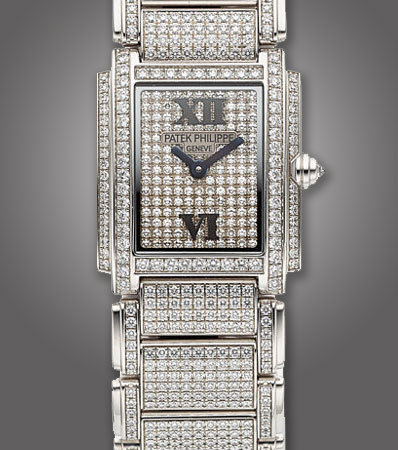 Patek Philippe, Fine and Rare Ref. 4908/50 Twenty4 White Gold And Pave Diamond Ladies Wristwatch Circa 2002