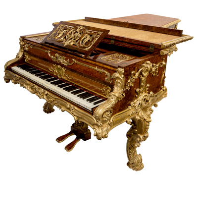 A Rare John Broadwood & Sons Amboyna and Giltwood Grand Piano