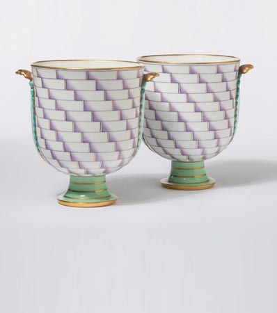 Gio Ponti (Italian, 1891-1979)Pair of Rare Footed Vases from the Lancesca Series, designed 1926
