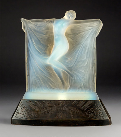 R. Lalique Thaïs Opalescent Glass Statuette on Peacock Bronze Base