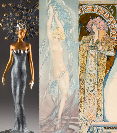 Fine selections by Mucha, Icart and Erte