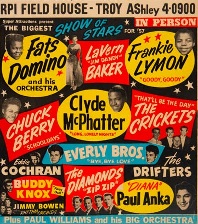 Buddy Holly, Chuck Berry, Eddie Cochran, Everly Bros. 1957 Biggest Show of Stars Jumbo Concert Poster.