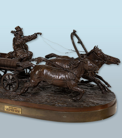 A Russian Bronze Group of Troika Ride | Cast from a model by Alexi Petrovitch Gratcheff
