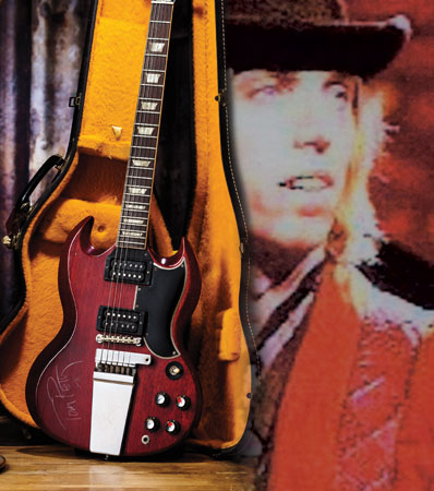Tom Petty Stage Played 1965 Gibson SG Cherry Electric Guitar and Hat Worn on Stage and in Traveling Wilburys Music Videos