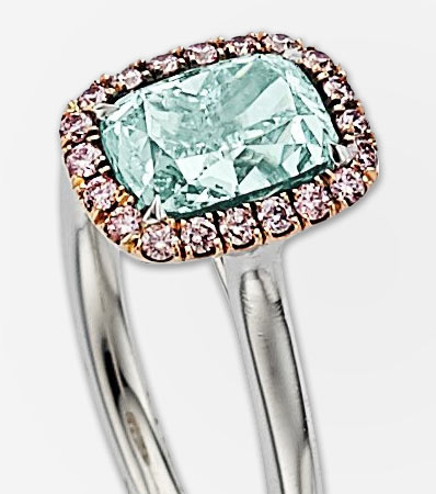 Fancy Green-Blue Diamond, Colored Diamond, Platinum, Rose Gold Ring