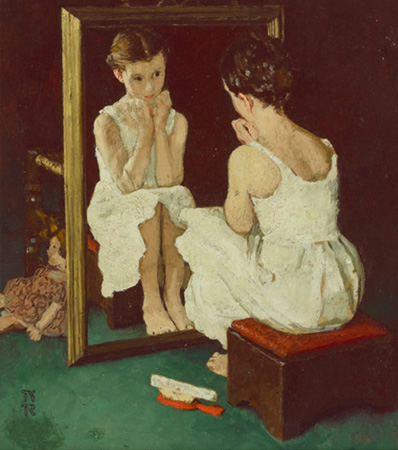 Norman Rockwell (American, 1894-1978), Girl at Mirror, The Saturday Evening Post cover study