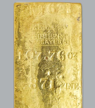 Kellogg & Humbert Gold Ingot. 107.76 Ounces.
