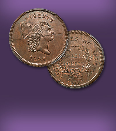 1796 No Pole Half Cent, MS67 Red and Brown The Finest Known Cohen-1, Breen-1 A Legendary Numismatic Rarity