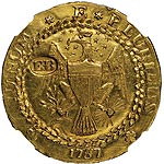 1787 'EB' on Wing Brasher Doubloon MS63 NGC, CAC