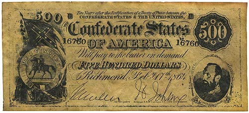 USA Confederate Currency 500 Dollars 1864 Reproduction UNC